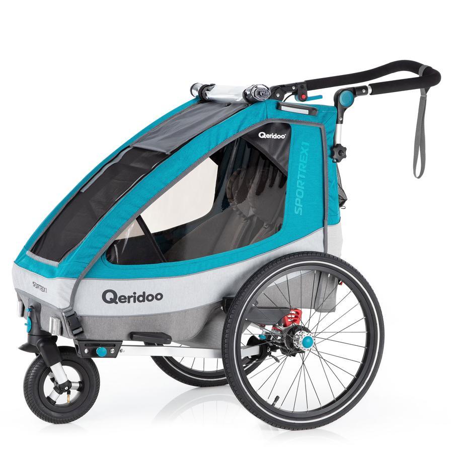 Qeridoo® Kinderfahrradanhänger Sportrex1 Petrol