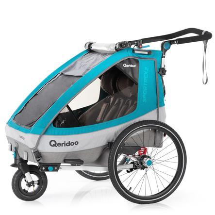 Qeridoo® Kinderfahrradanhänger Sportrex2 Petrol