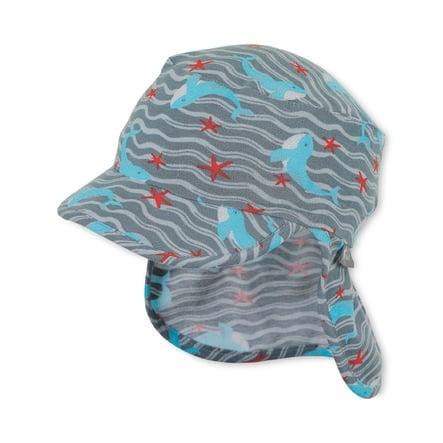 Sterntaler gorra de pico con protección de cuello gris humo