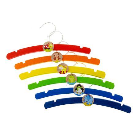 HESS Cintre enfant bois, multicolore lot de 6