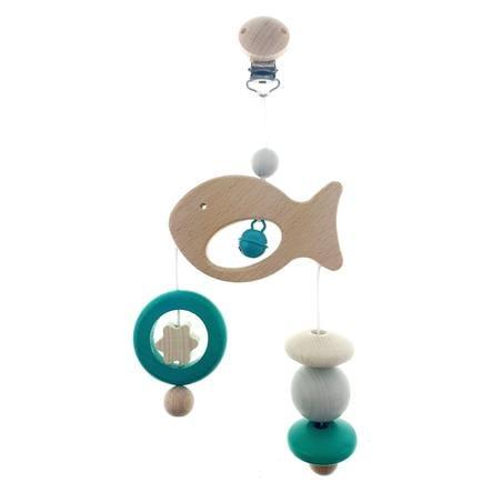HESS Trapèze enfant mini poisson, bois naturel/turquoise
