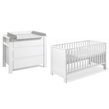 SCHARDT Milano blanc Kit chambre enfant avec lit kit de transformation commode et plateau