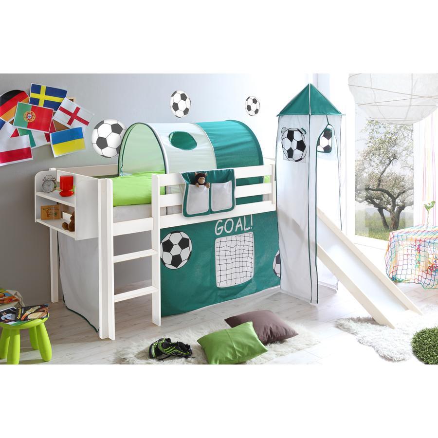 TICAA Patrová postel se skluzavkou a věží GOAL borovice bílá - zelená bílá