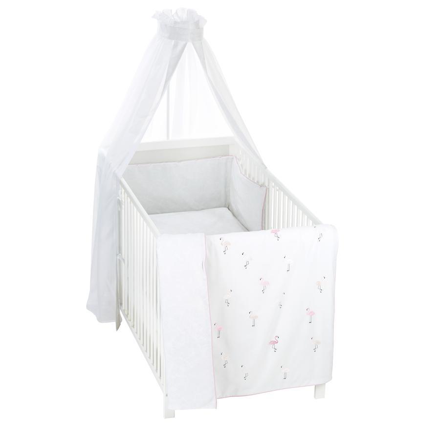 Alvi® Parure de lit enfant à barreaux flamant rose, 3 pièces 100x135 cm