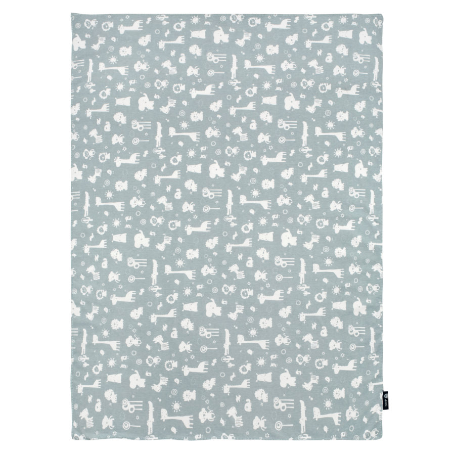 Alvi® Babydecke Jersey, Animals blau 75 x 100 cm