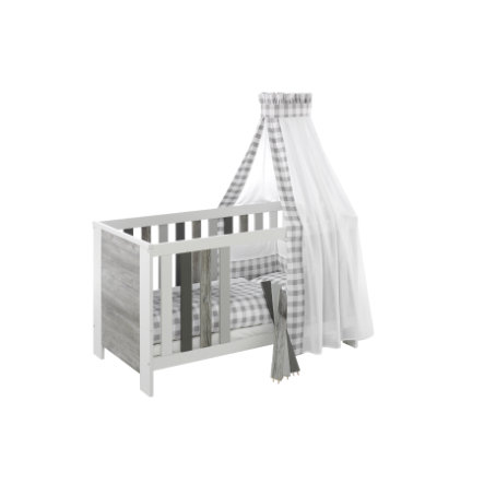 Schardt Lit bébé évolutif Woody Grey 70x140 cm blanc/gris