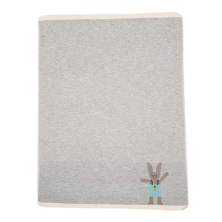 DAVID FUSSENEGGER Babydecke Hase Stick grau 70 x 90 cm