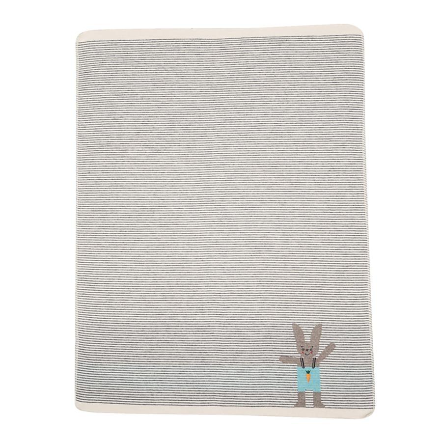 DAVID FUSSENEGGER Couverture bébé lapin tricot gris 70x90 cm
