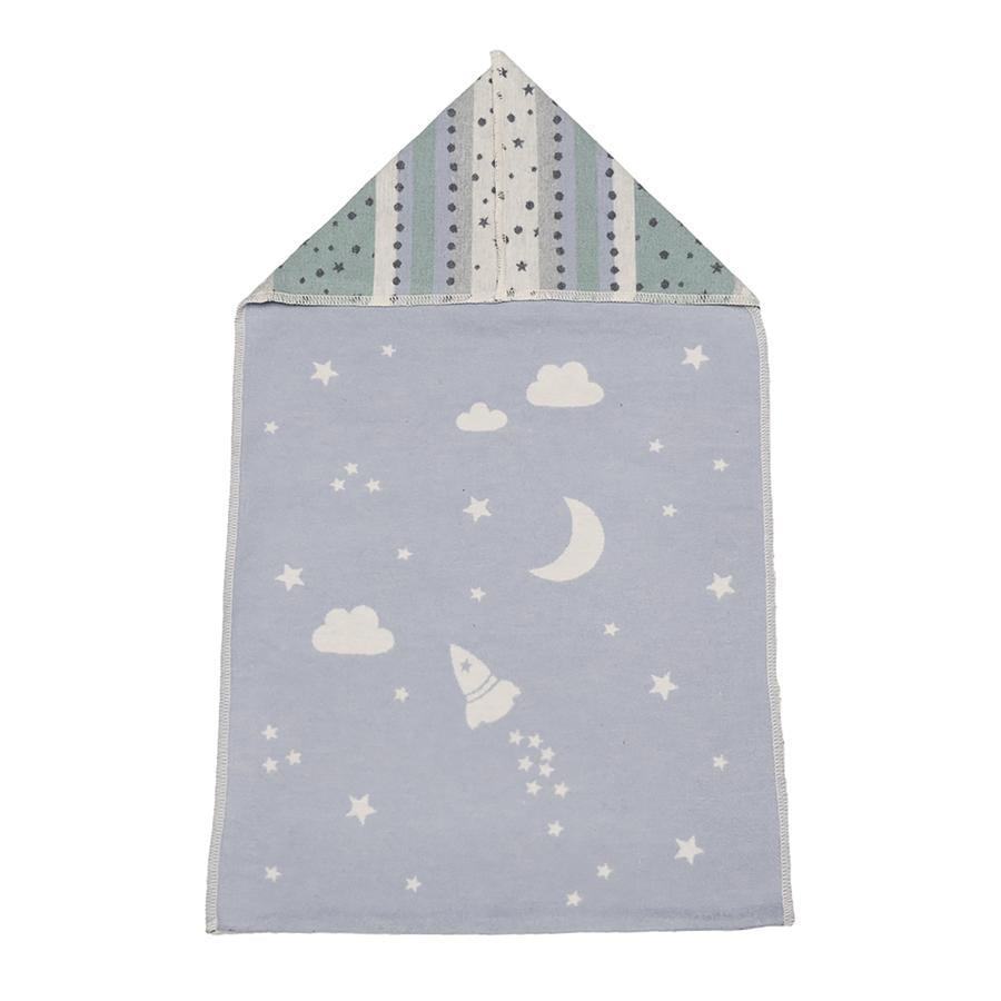 DAVID FUSSENEGGER Couverture bébé avec capuche espace bleu clair 45x76 cm