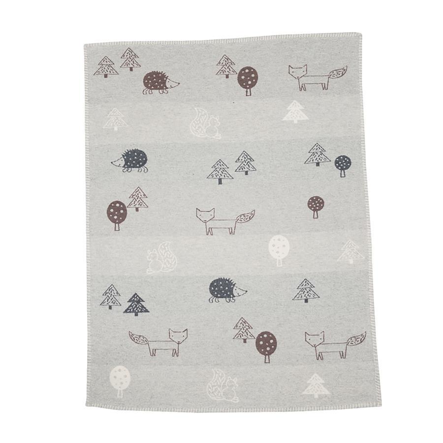 DAVID FUSSENEGGER manta de algodón de fieltro de animales del bosque 75 x 100 cm