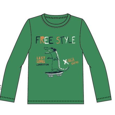 pojmenujte to Chlapecké tričko s dlouhým rukávem Vuxi středně zelené