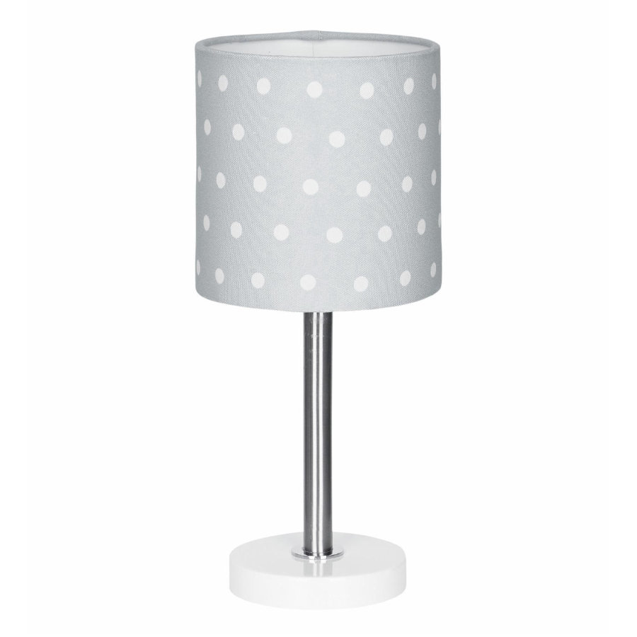 LIVONE Lampe de table enfant Happy Style for Kids DOTS gris argenté/blanc