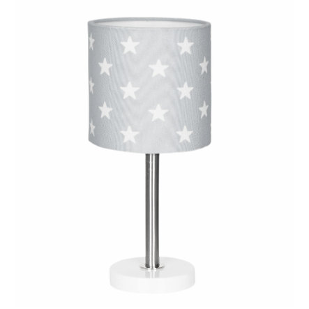 LIVONE Tischlampe Happy Style for Kids STARS silbergrau/weiss