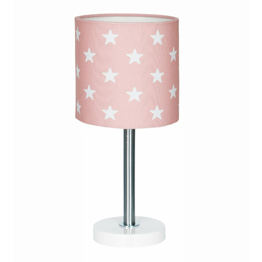 LIVONE Tischlampe Happy Style for Kids STARS rosa/weiss