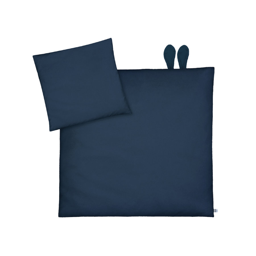 JULIUS ZÖLLNER Beddengoed met oren Piqué Night Blue 80 x 80 cm