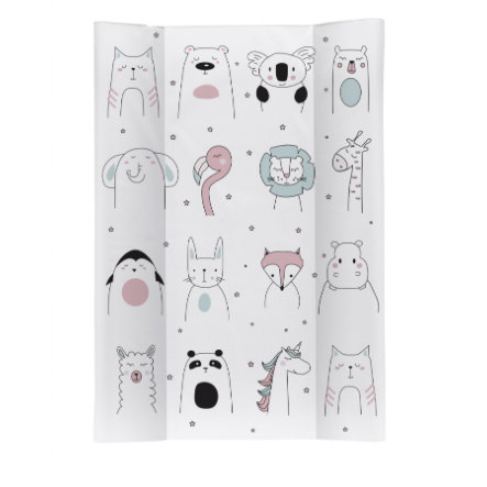 Rotho Babydesign Keilwickelauflage Happy Faces weiß 50 x 70 cm