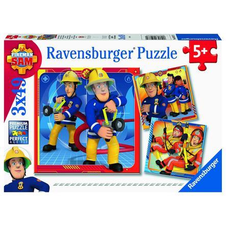Ravensburger  Puzzle 3 x 49 Teile Feuerwehrmann Sam: Unser Held Sam