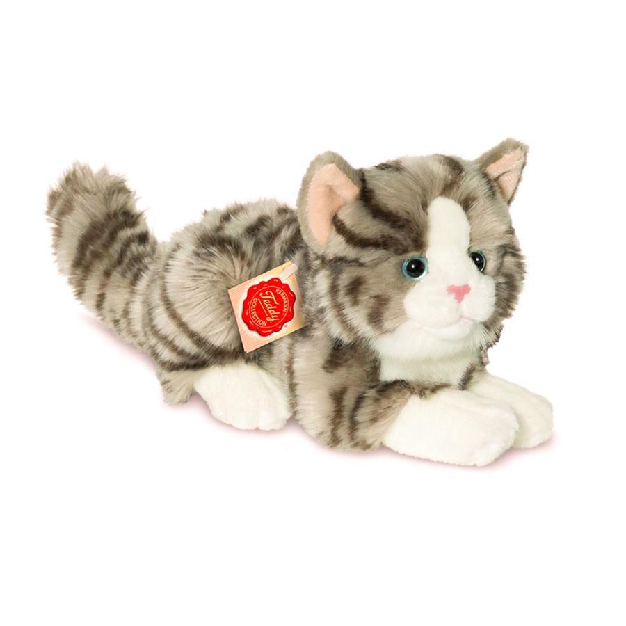 Teddy HERMANN ® Cat ležící šedá, 30 cm