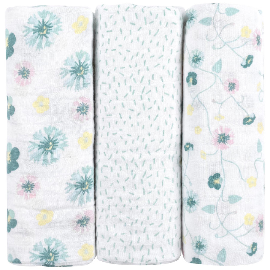 emma & noah Mullwindeln 3er Set Blumen Mint 80 x 80 cm
