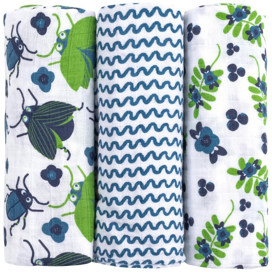 emma & noah Mullwindeln 3er Set Blumen Blau 80 x 80 cm