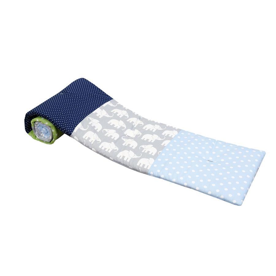 ULLENBOOM® Ochraniacz do łóżeczek dostawnych Elephant blue green 145 x 24 cm