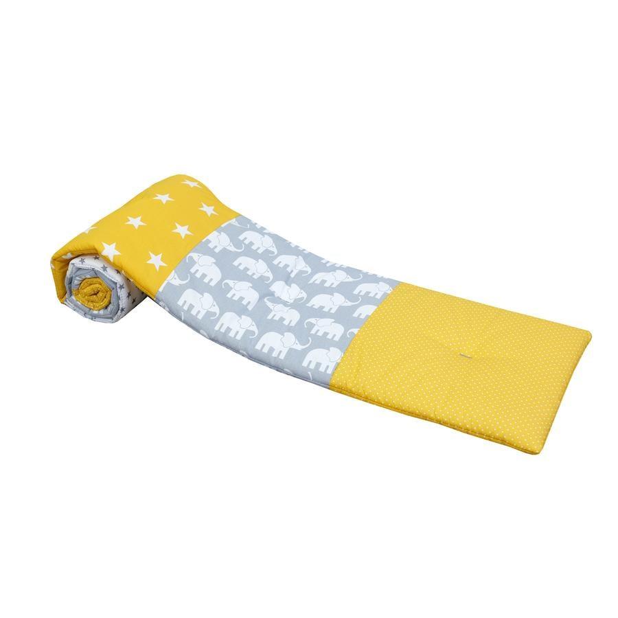 ULLENBOOM® Ochraniacz do łóżeczek dostawnych Elephant yellow 145 x 24 cm
