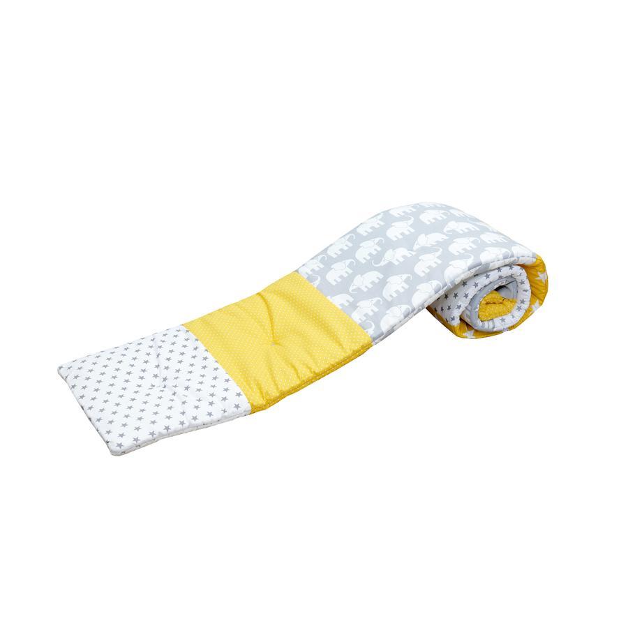 ULLENBOOM® Ochraniacz do łóżeczka dostawnego Elephant Yellow 170 x 24 x 4 cm