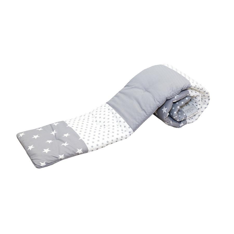 ULLENBOOM ® Paracolpi per lettino co-sleeping grigio stelle 170 x 24 x 4 cm