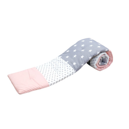 ULLENBOOM ® Paracolpi per lettino co-sleeping rosa grigio 170 x 24 x 4 cm