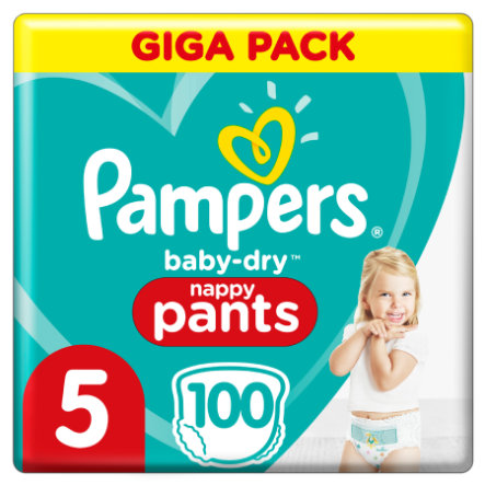 Pampers Couches culottes Baby Dry Nappy Pants T.5 Junior 12-17 kg pack géant 100 pcs