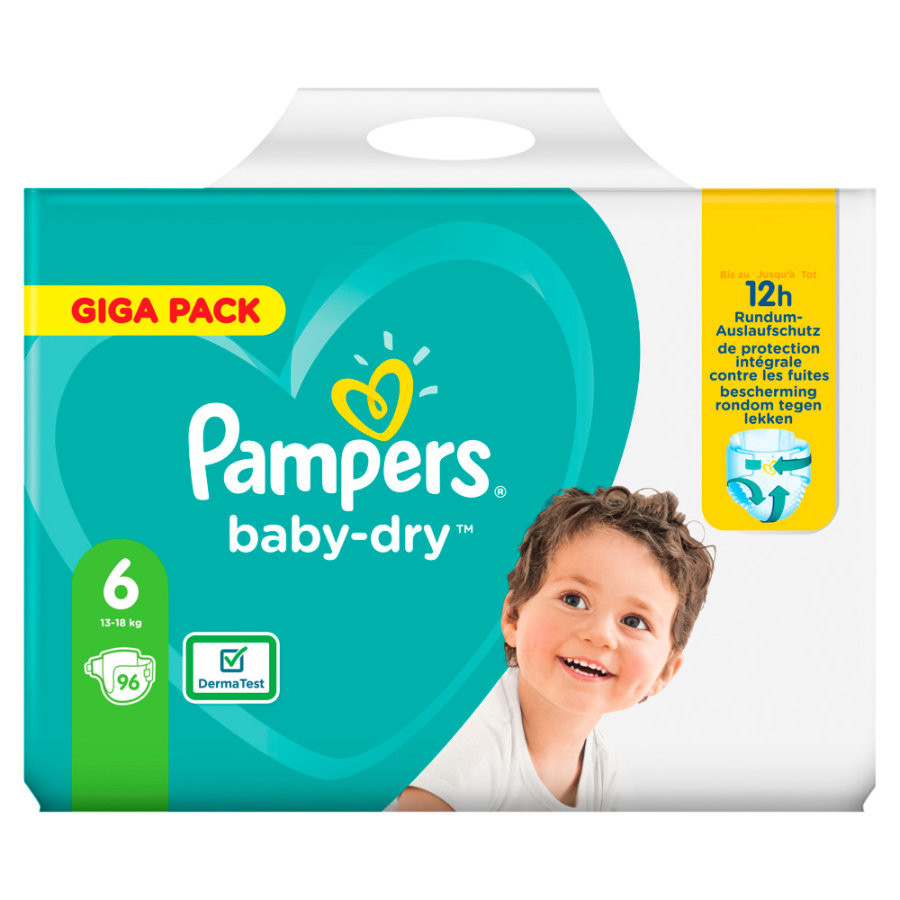 Pampers Baby Dry Gr. 6 Pannolini Extra Large 96 pannolini da 13 a 18 kg Giga Pac