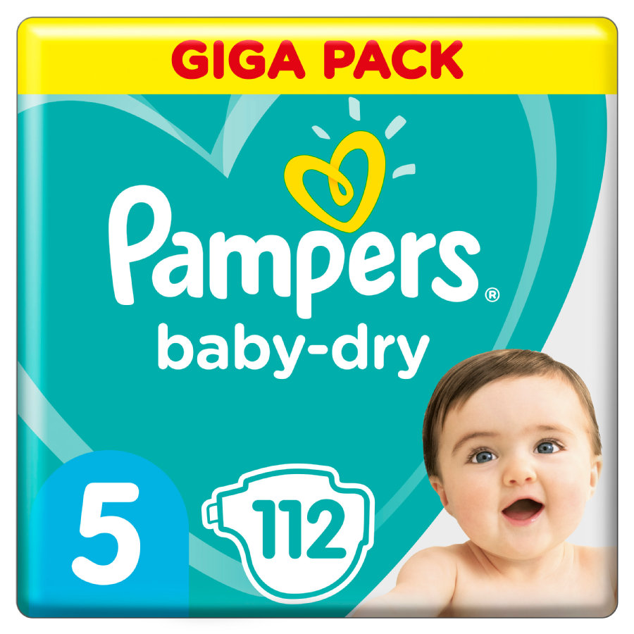 Pampers Couches Baby Dry T.5 Junior 11-16 kg pack géant 112 pcs