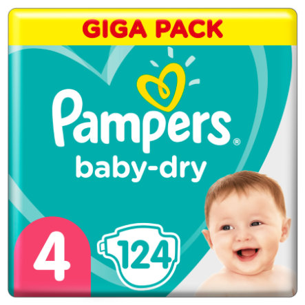Pampers Baby-Dry Größe 4, 124 Windeln, bis zu 12Stunden Rundumschutz, 9-14kg