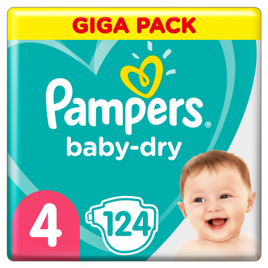 Pampers Baby Dry Gr. 4 Maxi 124 pañales 9 a 14 kg Giga Pack