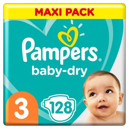 Pampers Baby-Dry Größe 3, 128 Windeln, bis zu 12Stunden Rundumschutz, 6-10kg