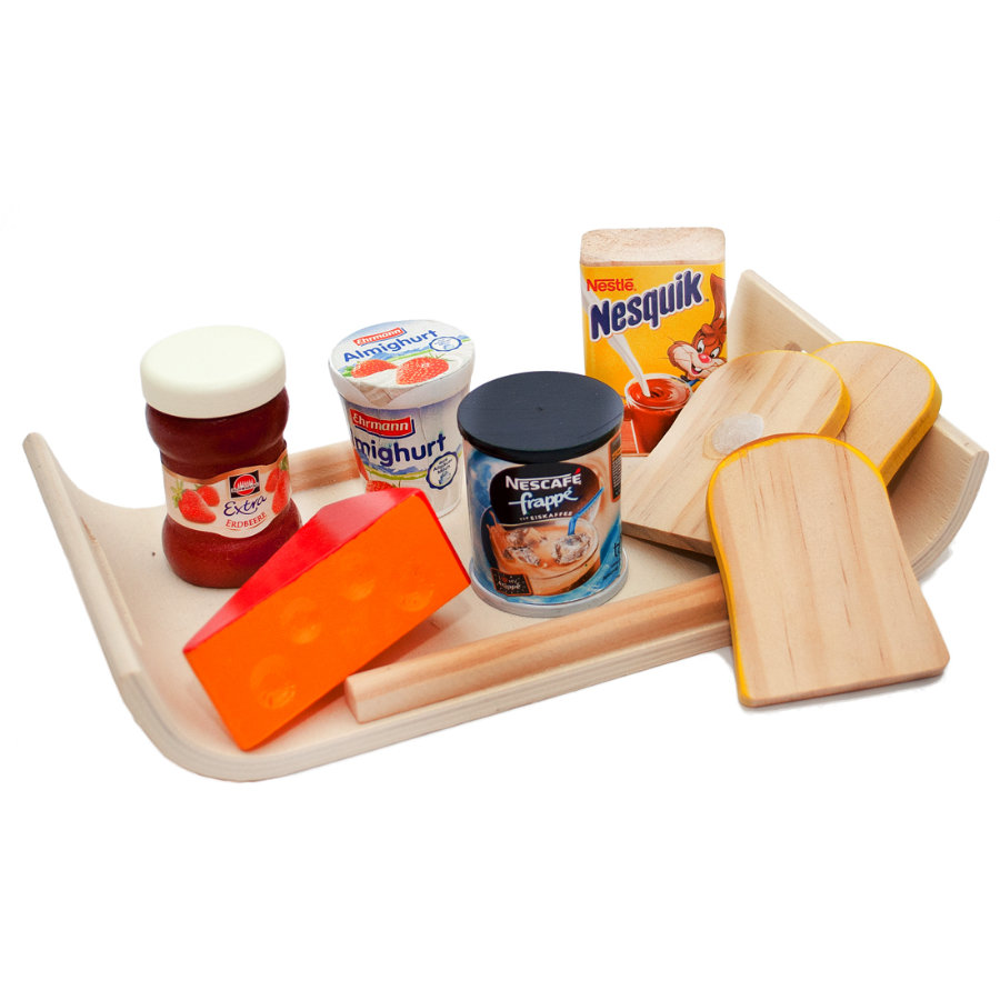 Tanner - Plateau petit-déjeuner enfant moderne Le petit marchand bois | roseoubleu.fr