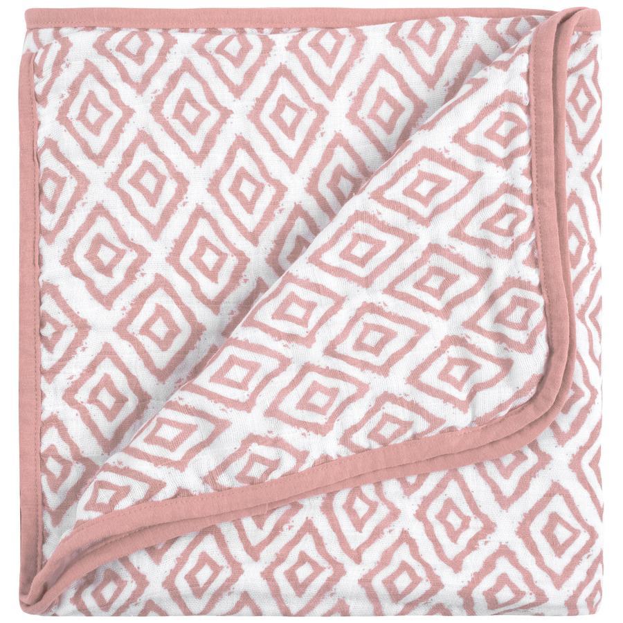 emma & noah Couverture bébé losanges rose 120x120 cm