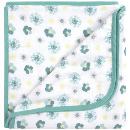 emma & noah Couverture bébé fleurs menthe 120x120 cm