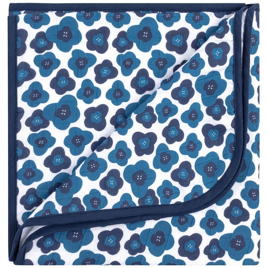 emma & noah Kuscheldecke Blumen Blau 120 x 120 cm