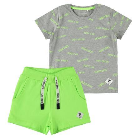name it Zestaw T-Shirt i Shorts Nmmzallom grey melange
