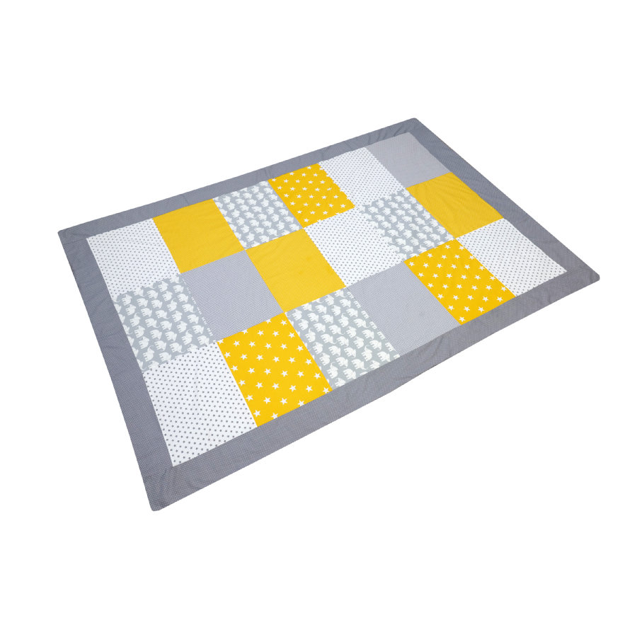 ULLENBOOM ® Patchwork cubre elefante amarillo 140 x 200 cm