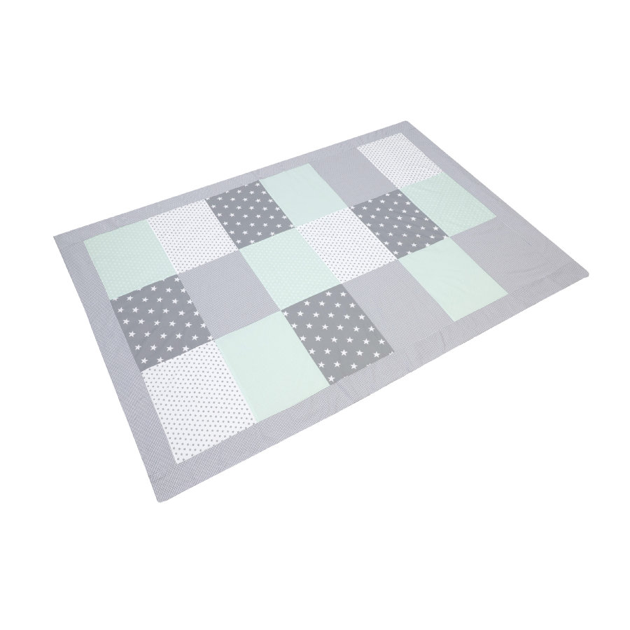 ULLENBOOM® Couverture bébé patchwork menthe gris 140x200 cm
