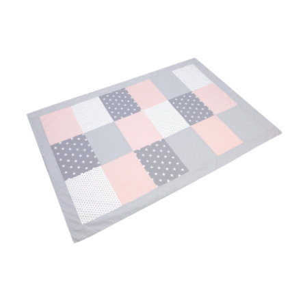 ULLENBOOM® Couverture bébé patchwork rose gris 140x200 cm