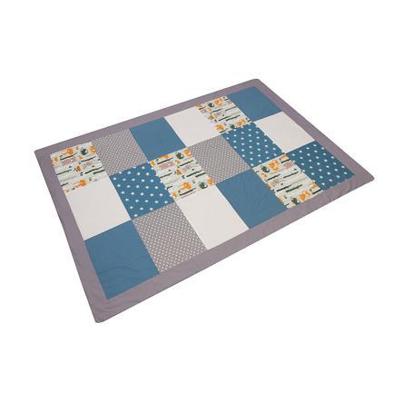 ULLENBOOM® Couverture bébé patchwork animaux de forêt bleu pétrole 140x200 cm
