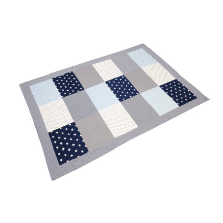 ULLENBOOM® Couverture bébé patchwork bleu bleu clair gris 140x200 cm