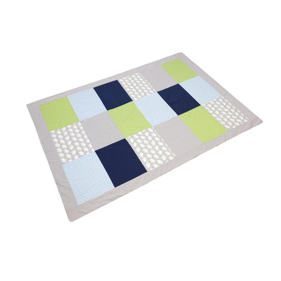 ULLENBOOM® Couverture bébé patchwork éléphant bleu vert 140x200 cm