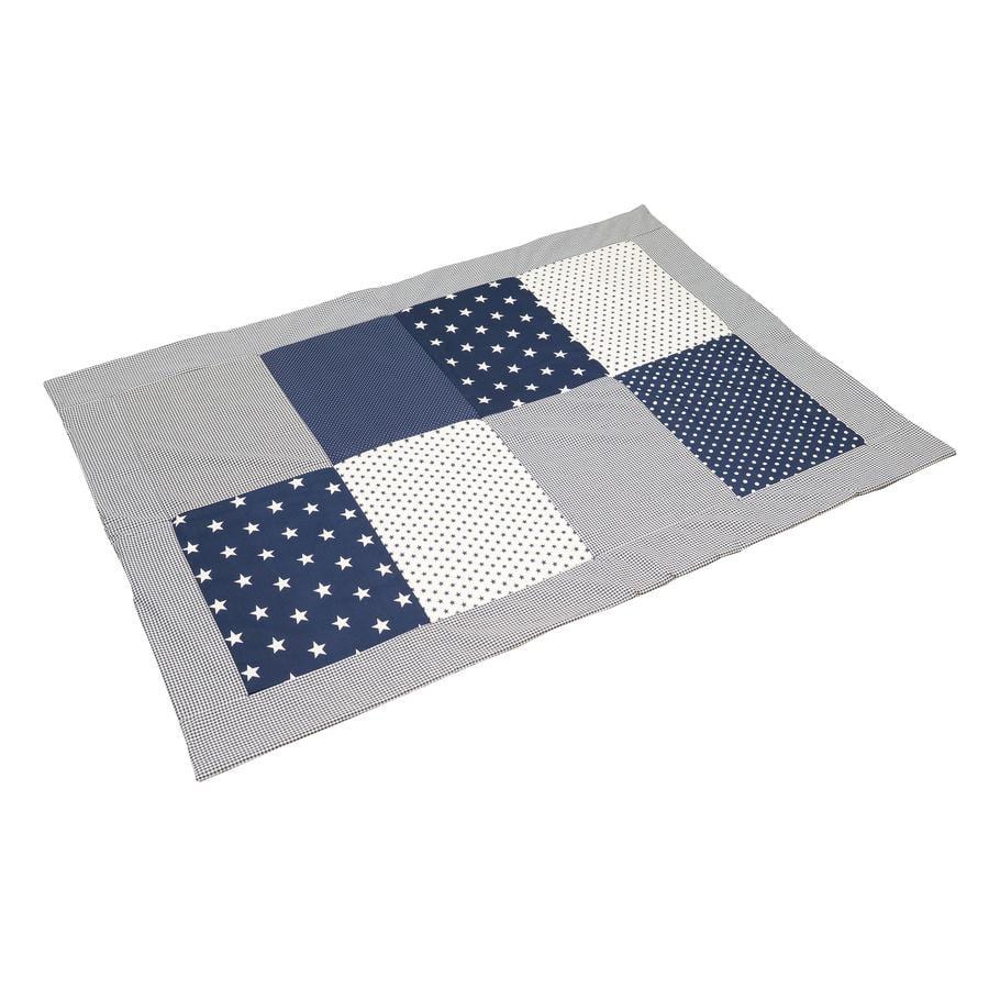 ULLENBOOM ® Patchwork deka modré hvězdy 100x140 cm