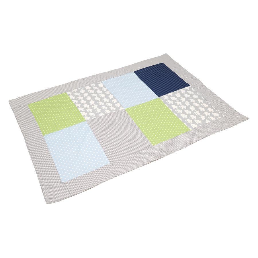ULLENBOOM® Lapptrekk dekke elefant blågrønn 100x140 cm