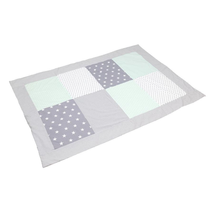 ULLENBOOM® Couverture bébé patchwork menthe gris 100x140 cm
