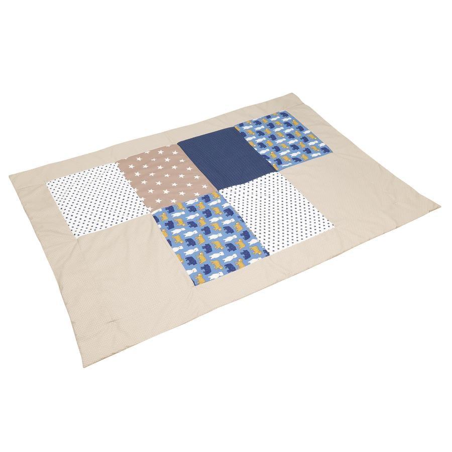 ULLENBOOM® Couverture bébé patchwork sable ours 100x140 cm